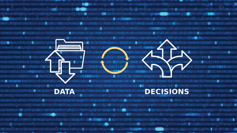 Graphic representation showing how data informed our decisions.