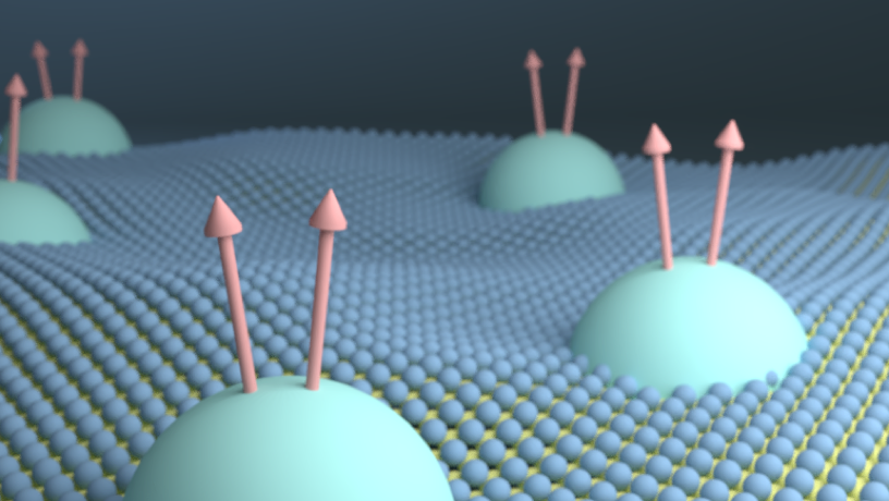 "Illustration of the monolayer WSe2 hosting ""composite fermions"""